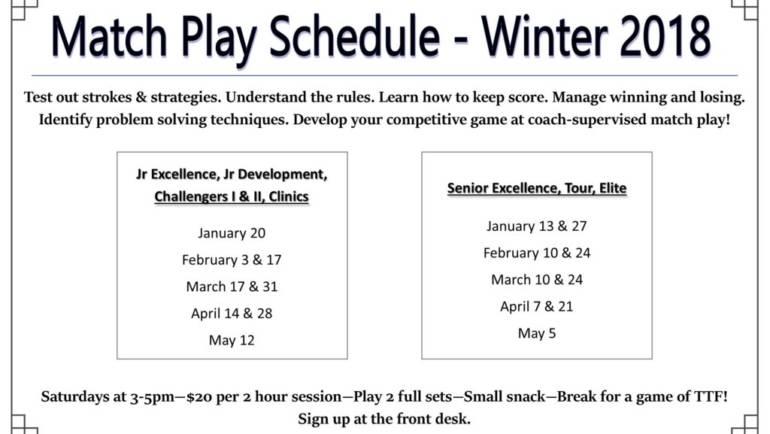 Match Play Schedule Winter 2018